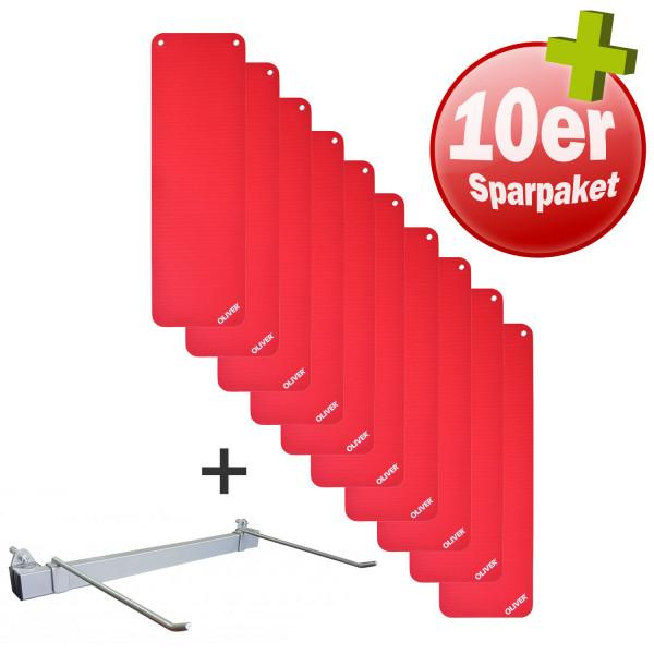 OLIVER Gymnastikmatte 180 (180x60x1cm) - 10er Pack m. Wandhalterung