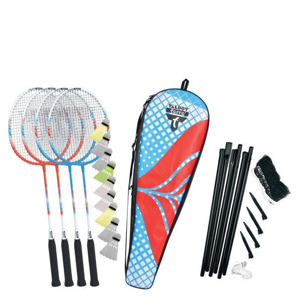 Talbot Torro Premium Badminton Set 4 mit zusätzl. Kunststofffederbälle
