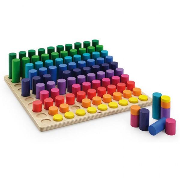 Erzi Lernspiel Mengenlehre, 100 Teile + 1 Steckbrett