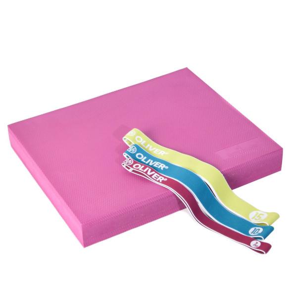 DITTMANN Balance Pad TPE magenta mit Tex-O Miniband 3er-Set