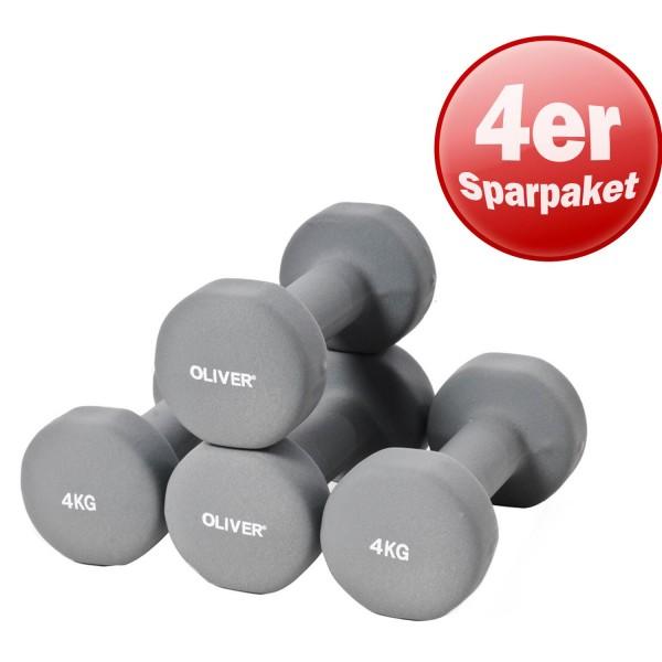 4x OLIVER Neopren Hantel, 4.0 kg
