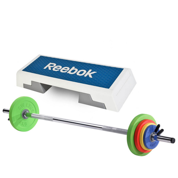 REEBOK Step blau/weiß m. Sveltus Langhantelset 16 kg